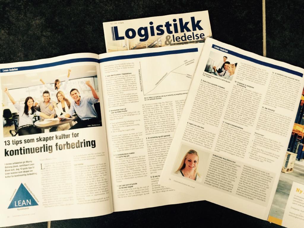 Lean-artikkel på trykk i Logistikk & Ledelse.